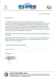 certyfikat GLOBE